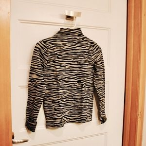 121. zebra print mock neck top